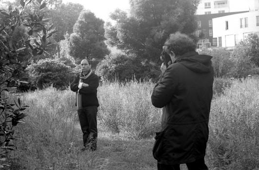 David Gauthier et Patrick Faigenbaum, jardin de l'Ens, 23 mai 2013 © Yannis Séféroglou