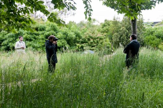 Yannis Séféroglou, Patrick Faigenbaum et David Gauthier, jardin de l'Ens, 23 mai 2013 © Claire Defosse