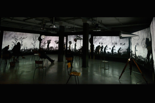 Vue de l'installation « More Sweetly Play the Dance », William Kentridge, Stimultania © Alain Kaiser, mars 2017